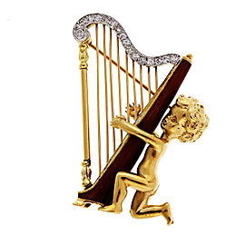Ruser 14k Yellow Gold Vintage 1950 Angel Harp Diamond Enamel Pin