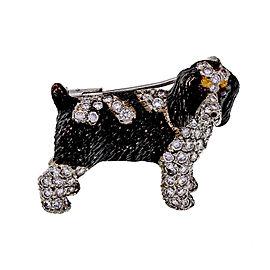 Vintage E. Wolfe Brittany Springer Spaniel 18k White Gold Diamond and Ruby Dog Pin