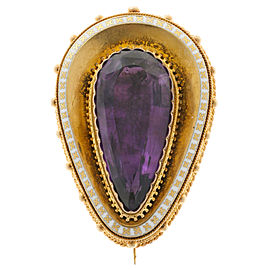 14k Yellow Gold Amethyst White Enamel Vintage Pin 1840s
