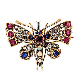 Yellow Gold Victorian Moth Multi-Stone Vintage Pin