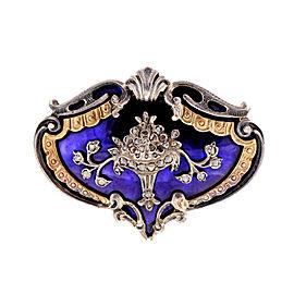14k Yellow Gold Silver Georgian Blue Enamel Rose Cut Diamond Pin
