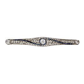 Platinum Art Deco Old European Cut Diamond and Calibré Cut Sapphire Large Bar Pin