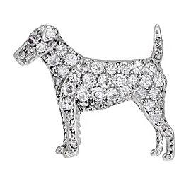 14k White Gold Vintage Pavé Diamond Pointer Dog Pin 1930s