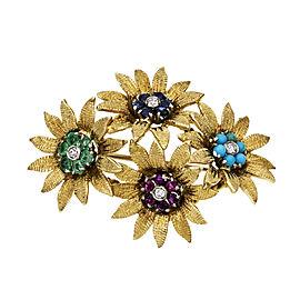 Vintage 1950 Flower Pin 18k Textured Gold Multi-Colored Gemstones