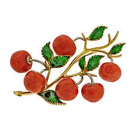 18k Yellow Gold Tomato Coral Pin