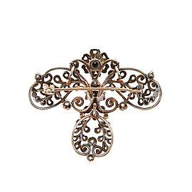 14k Yellow Gold & Silver Dark Patina 41 Rose Cut Diamond Dangle Vintage Pin