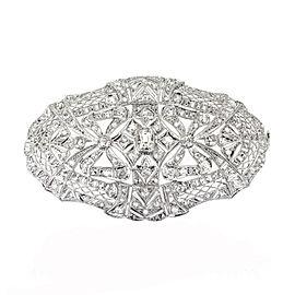 Vintage Bow Motif Platinum Rose Cut and Old Mine Cut Diamond Large Pin
