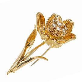 18k Yellow Gold Vintage .40ct Diamond Flower Pin