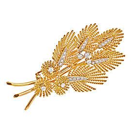 18k Yellow Gold Platinum Leaf Vintage Pin 1950s