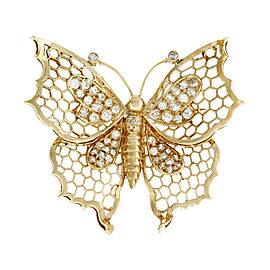 14k Yellow Gold Butterfly Diamond Vintage Pin 1930s