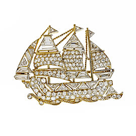 18k Yellow Gold Platinum Round Cut Diamonds Vintage Ship Pin