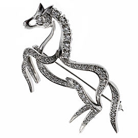 18k White Gold Vintage Prancing Diamond Horse Pin