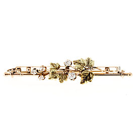 14k Rose and Green Gold Flower Old Mine Cushion Cut Diamond Pin 1830s