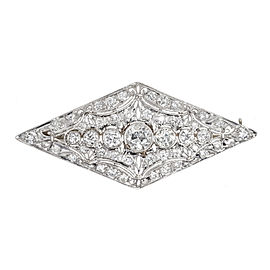 Vintage Art Deco 3.75ctw Old European Cut Diamond Platinum and White Gold Pin