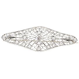 Platinum Art Deco Old Mine Diamond Open Work Filigree Vintage Pin