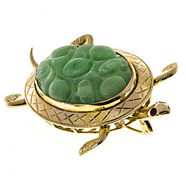 14k Yellow Gold Jadeite Jade Turtle Vintage Pin 1940s