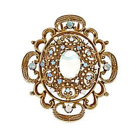 Vintage 14K Yellow Gold Opal Pin Pendant