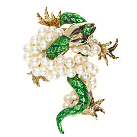 Vintage 14k Yellow Gold Green Enamel and Freshwater Cultured Pearl Dragon Pin