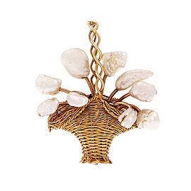 Vintage 14K Yellow Gold Freshwater Cultured Pearl Basket Pendant