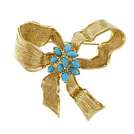 14k Yellow Gold Vintage Persian Turquoise Bow Pin 1950s