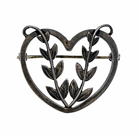 Georg Jensen Heart Sterling Silver Vintage Brooch
