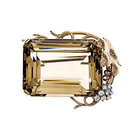14K Yellow Gold Emerald Smoky Quartz Pin Pendant