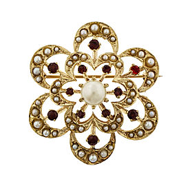 14K Yellow Gold Pearl Garnet Circle Flower Pin Pendant