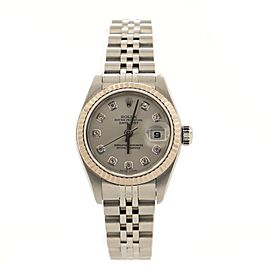 Rolex Oyster Perpetual Datejust Automatic Watch Stainless Steel and White Gold with Diamond Markers 26