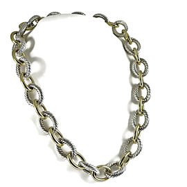 David Yurman Cable Classic Sterling Silver and 18K Yellow Gold Link Chain Necklace