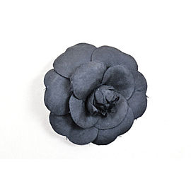 Chanel Black Silk Camellia Flower Pin Brooch