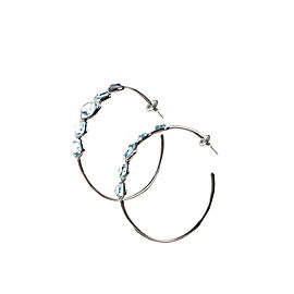 Ippolita Sterling Silver & Black Rhodium Blue Topaz & Diamond Embellished Hoop Earrings