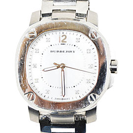 "Burberry ""Britain"" Stainless Steel Diamond Mother of Pearl Crystal 38mm Womens Watch"