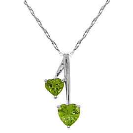 1.4 CTW Silver Hearts Necklace Natural Peridot