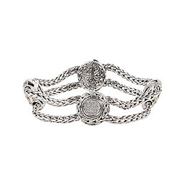 John Hardy Sterling Silver Diamond Four Station Braided Double Chain Bracelet