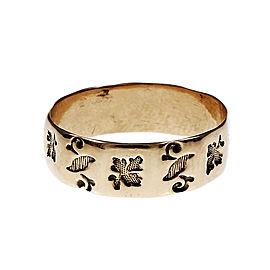 Vintage 14K Rose Gold Leaf Band Ring Size 7.5