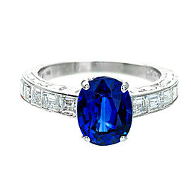 Cartier Platinum Sapphire & Diamond Ring Size 6