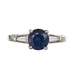 14k White Gold Sapphire Diamond Engagement Ring Size 7