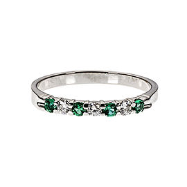 Kuber 14K White Gold with Emerald & Diamond Band Ring Size 6.5