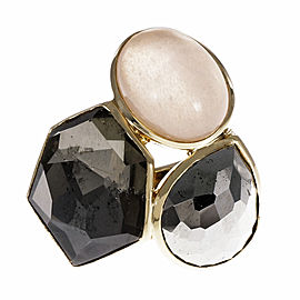 Ippolita Rock Candy 18K Yellow Gold Ring Hematite, Pyrite & Quartz Ring Size 7.25