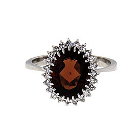 H. Stern Reddish Brown Garnet Ring 18k White Gold Diamond