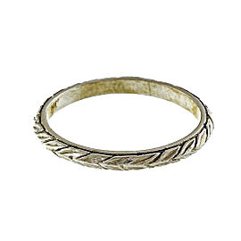 Vintage Platinum with Wheat Design Engraved Ring Size 9