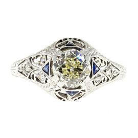 Platinum & 1.06ct. Diamond & Sapphire Ring Size 6.75