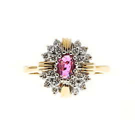 14K Yellow & White Gold with Ruby & Diamond Ring Size 7.25