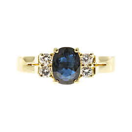 18K Yellow Gold with Sapphire & Diamond Ring Size 6.75