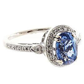 18K White Gold with 2.52ct Oval Ceylon Sapphire & Diamond Ring Size 6.5
