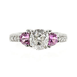 Platinum 1.57ct Diamond and Pink Sapphire Engagement Ring Size 7
