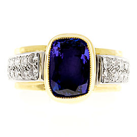 18K Yellow Gold & Platinum 4.0ct Tanzanite & Diamond Ring Size 8
