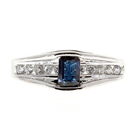 14K White Gold 0.80ct Blue Sapphire & White Channel Set Diamond Ring Size 7