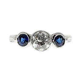 Vintage Platinum 0.50ct Blue Sapphire and Diamond Pierced Ring Size 7
