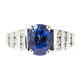 Platinum With 2.79ct Bright Blue Oval Sapphire and Diamonds Ring Size 5.75